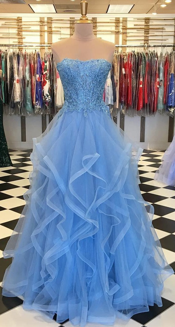 Ball Gown Ice Blue Strapless Prom Dress - daisystyledress