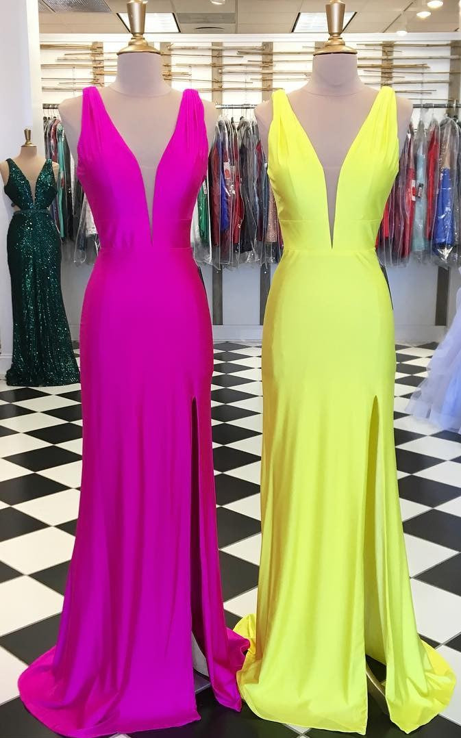 Simple A line Split Yellow Prom Dress