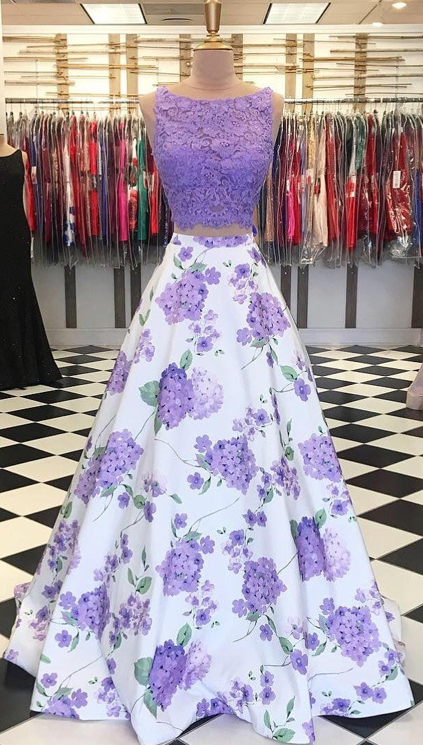 Ball Gown Two Piece Floral Prom Dress - daisystyledress