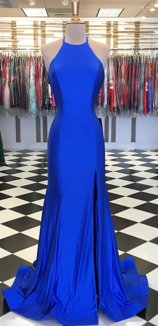 Sheath Halter Neckline Split Royal Blue Prom Dress