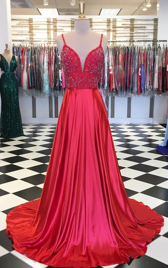 A line V-neck Beaded Red Prom Dress - daisystyledress
