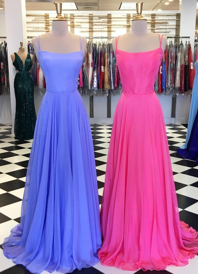 Spaghetti Straps Hot Pink Prom Dress - daisystyledress