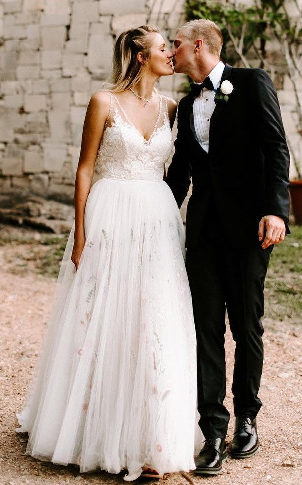 Informal Outdoor Wedding Dress with Floral Skirt - daisystyledress
