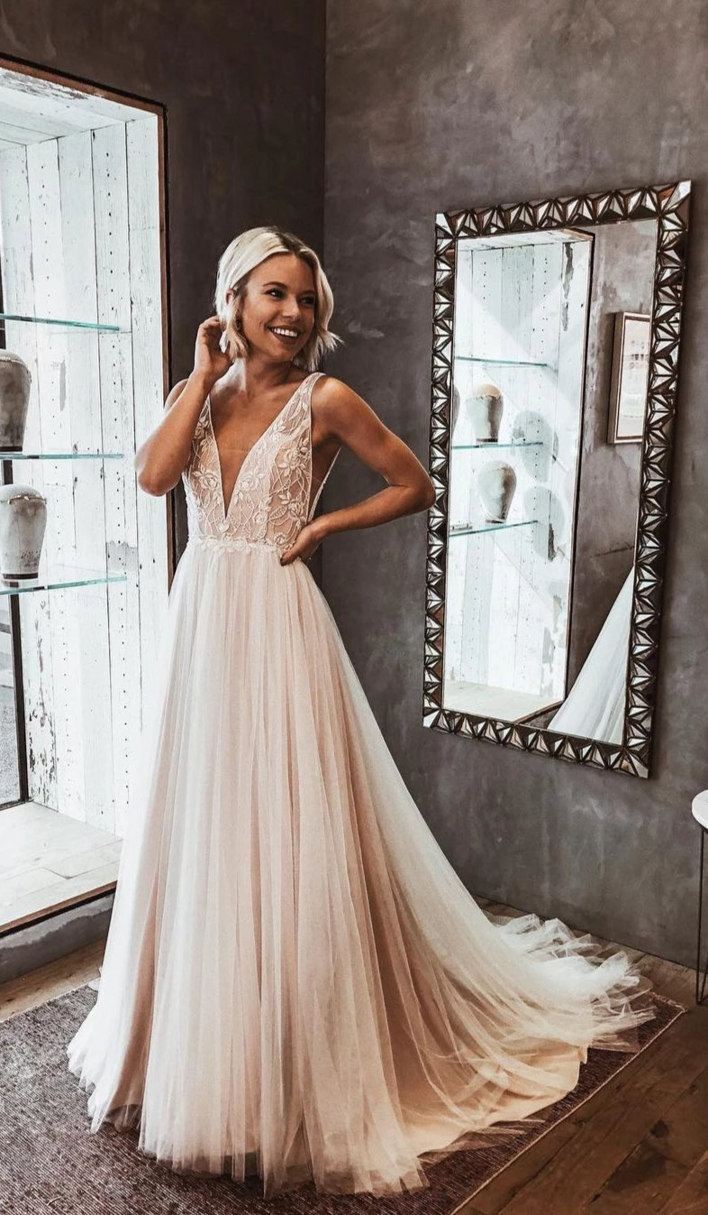Light Champagne Lace and Tulle Boho Wedding Dress - daisystyledress