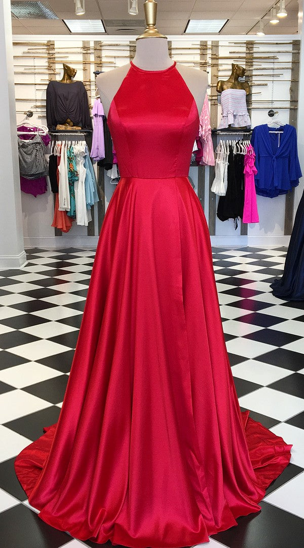 A line Spaghetti Straps Open Back Red Prom Dress - daisystyledress