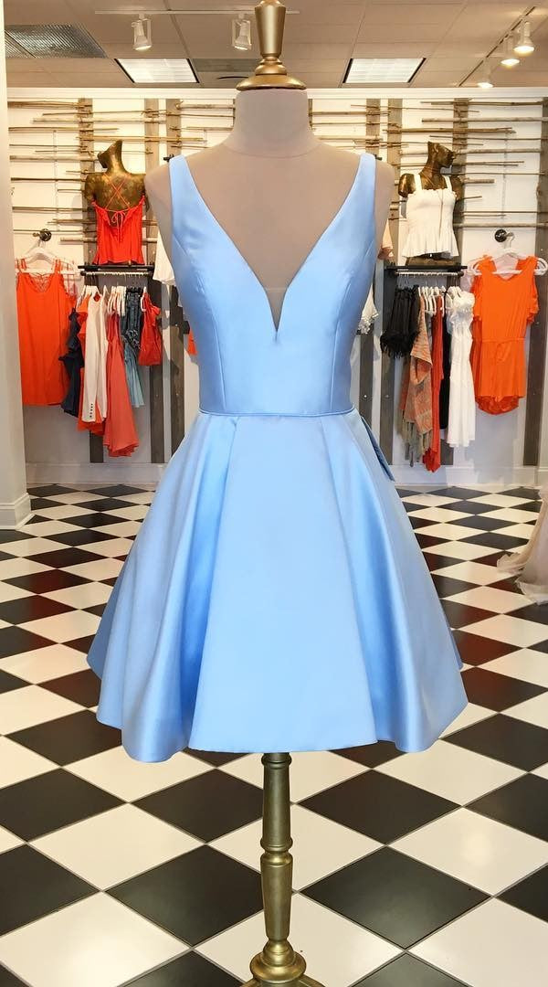 Knee Length Blue Homecoming Dress - daisystyledress