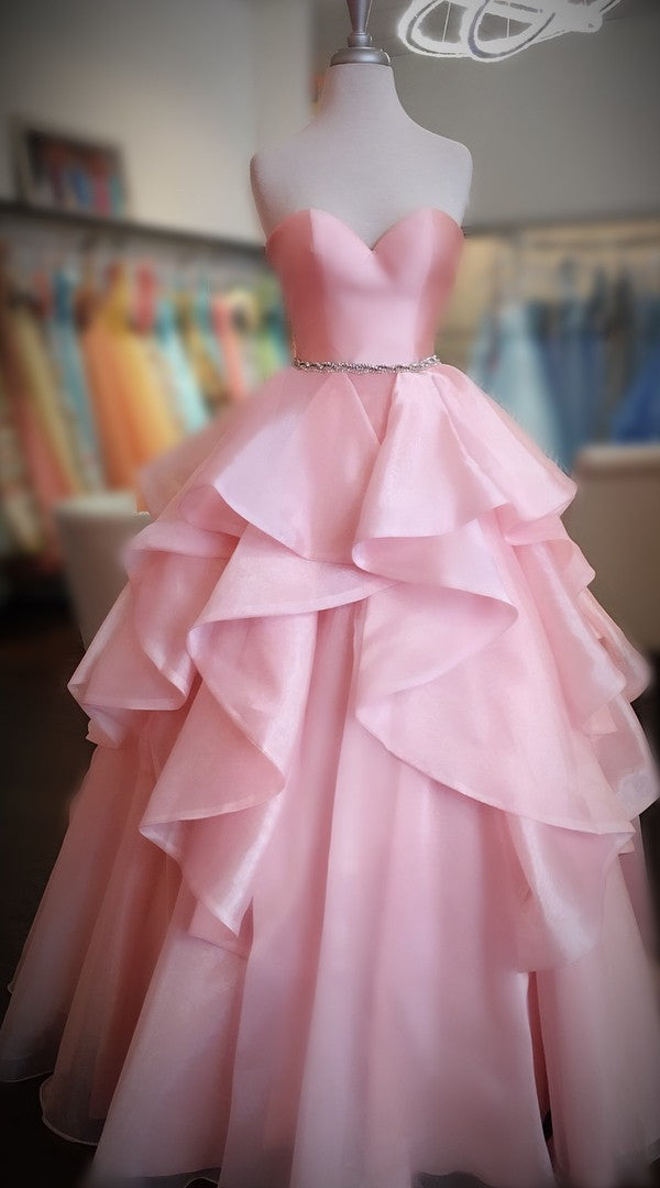 Sweetheart Pink Ball Gown Prom Dress - daisystyledress