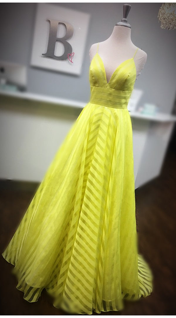 Spaghetti Straps V-neckline Yellow Prom Dress - daisystyledress