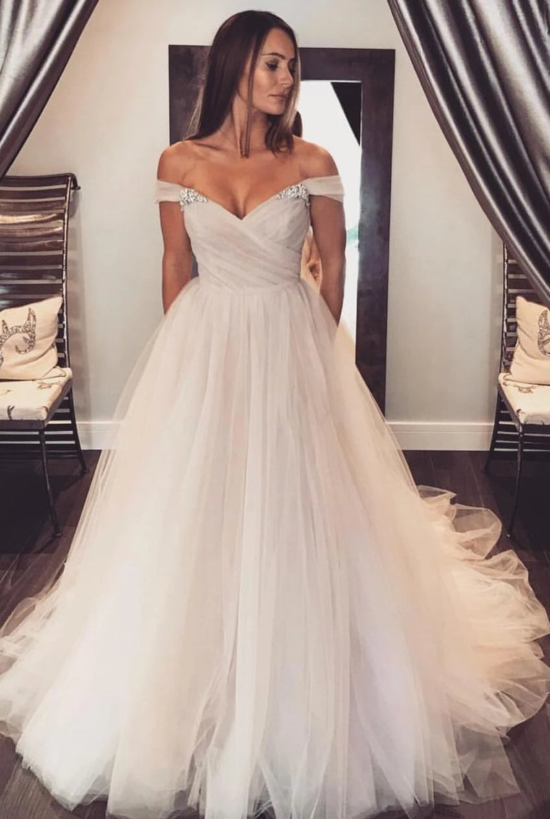 Off Shoulder Sleeve Blush Wedding Dress - daisystyledress