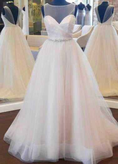 V-back Tulle Blush Wedding Dress with Beaded Band - daisystyledress