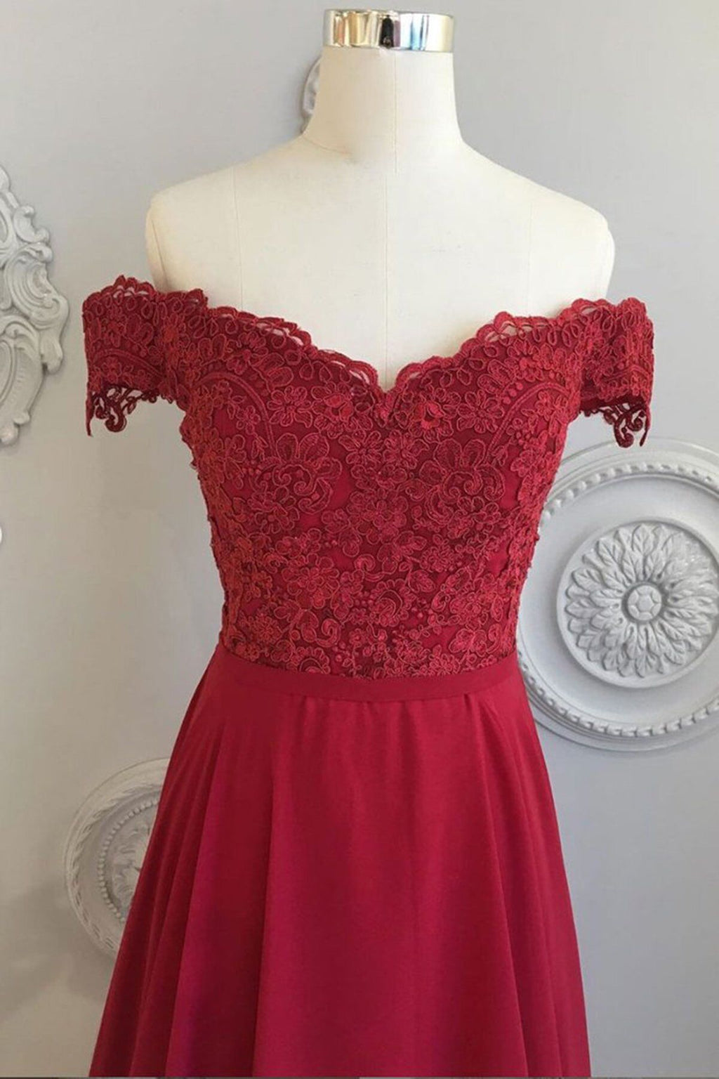 Off Shoulder Sleeves Burgundy Prom Dress - daisystyledress