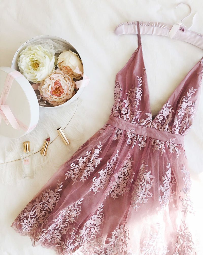 Short Vintage Blush Pink Lace Party Dress - daisystyledress