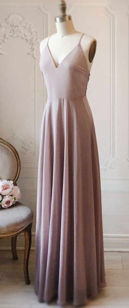 Simple Spaghetti Straps Backless Wedding Party Dress - daisystyledress