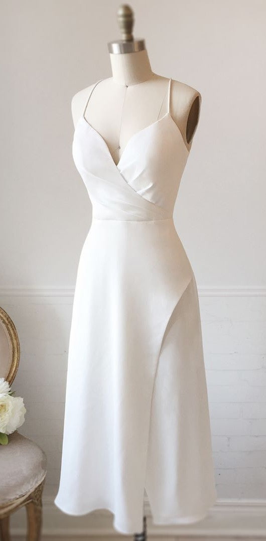 Knee Length Spaghetti Straps White Engagement Party Dress - daisystyledress