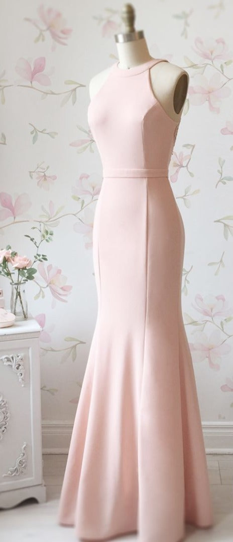Sheath Halter Neckline Blush Bridesmaid Dress - daisystyledress