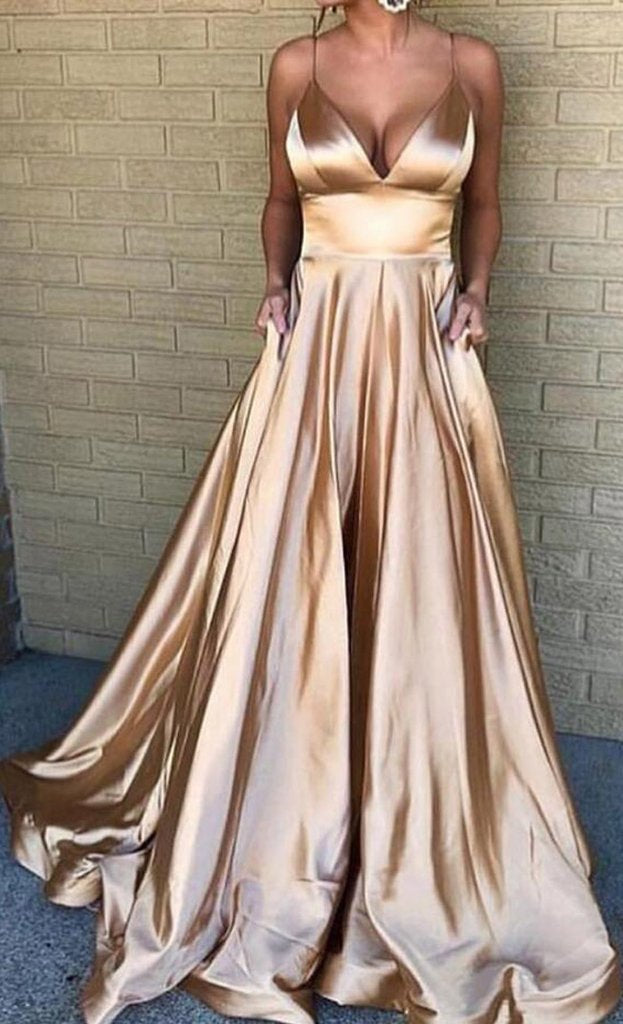 Spaghetti Straps Long Gold Prom Dress - daisystyledress