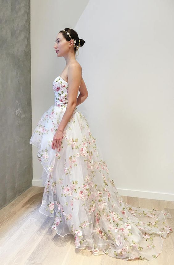 Sexy Informal High Low Floral Wedding dress - daisystyledress