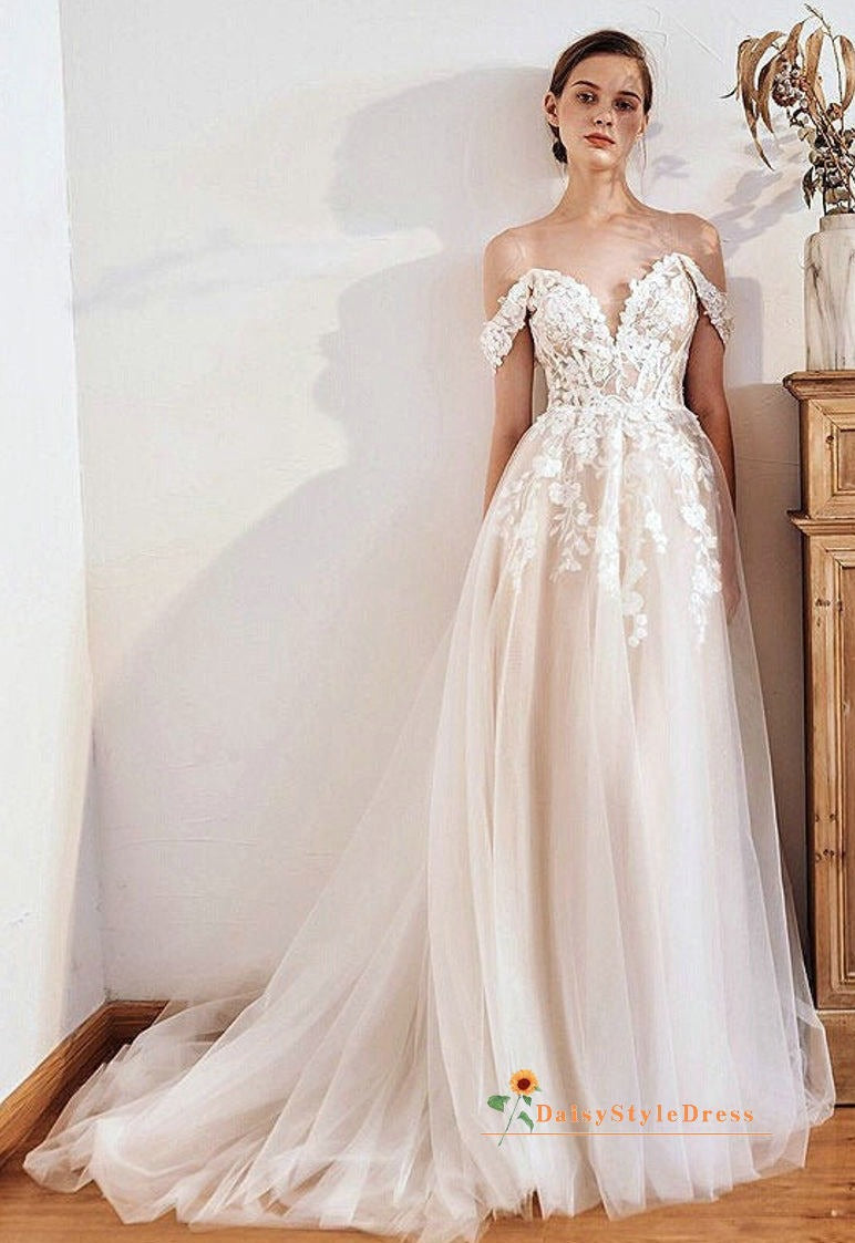 off shoulder sleeve summer wedding dress