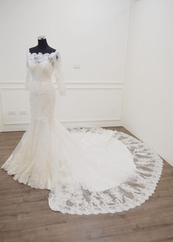 Mermaid Half Sleeve lace Wedding Dress - daisystyledress