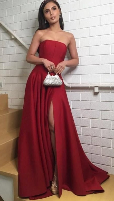 Simple Strapless Slit Burgundy Prom Dress - daisystyledress