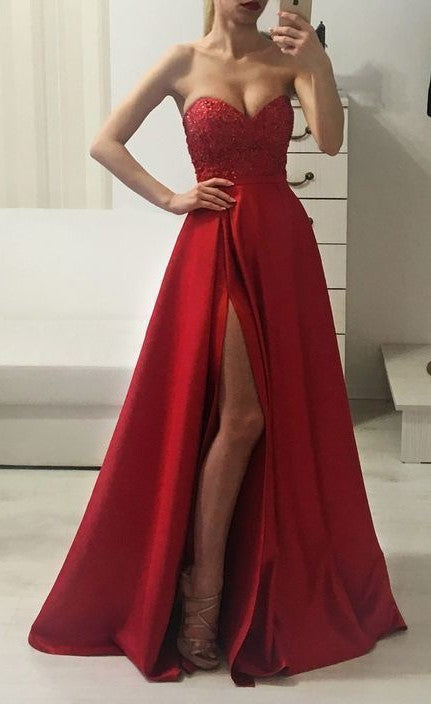 Sexy Slit Sweetheart Neckline Burgundy Prom Dress