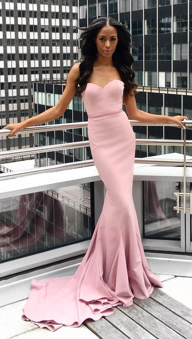 Fashion Mermaid Sweetheart Dusty Pink Evening Dress - daisystyledress
