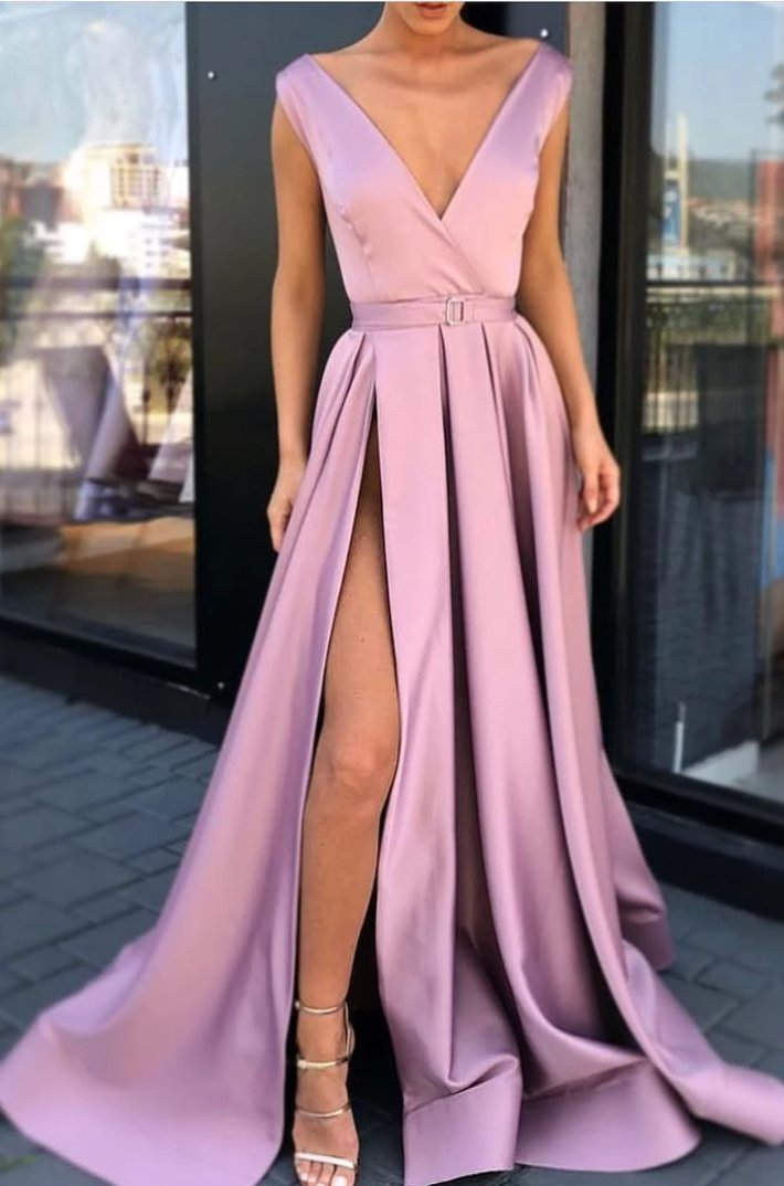 Sexy Split Dark Blush Formal Party Dress - daisystyledress
