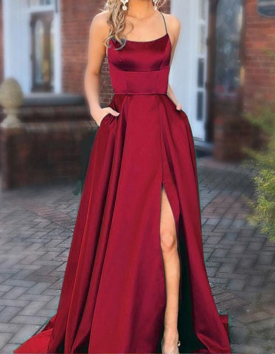 Sexy Spaghetti Straps Slit Burgundy Prom Dress