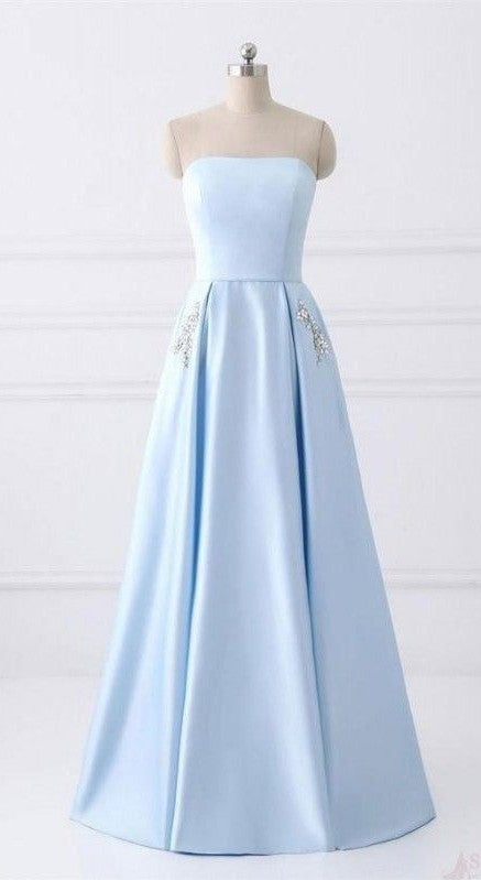Long Strapless Prom Dress With Pocket - daisystyledress