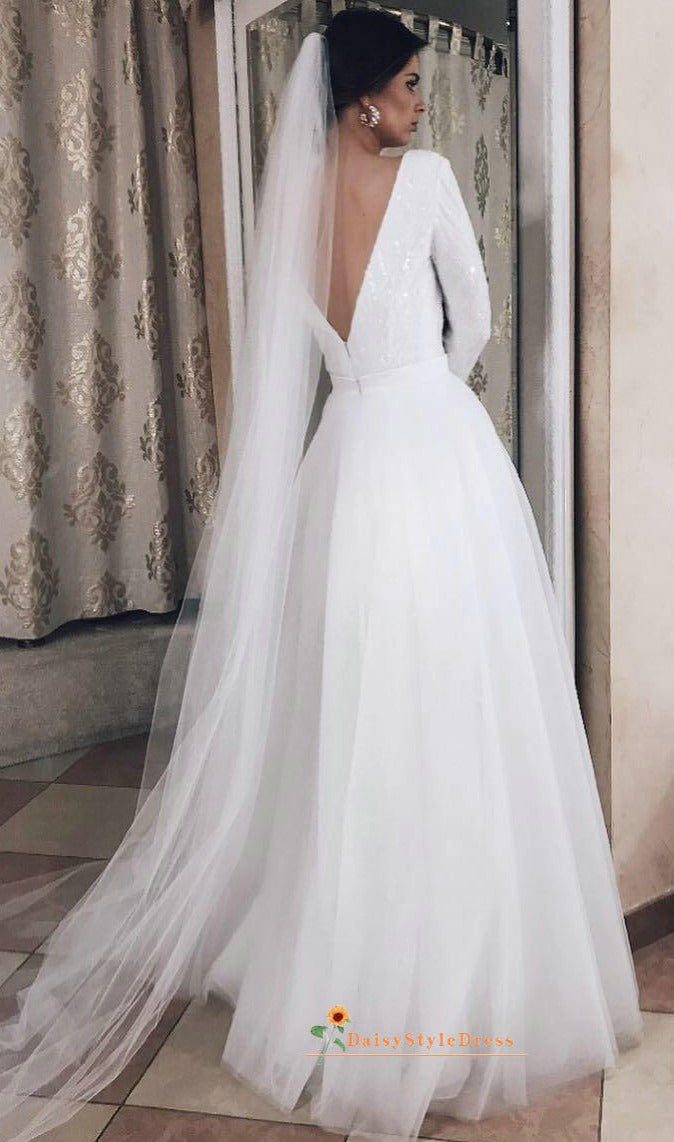 long sleeves v-back wedding dress