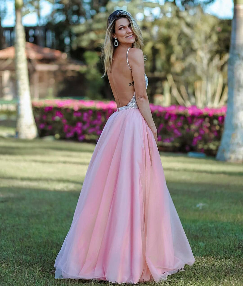 Sexy Open Back Spaghetti Straps Blush Pink Prom Dress - daisystyledress