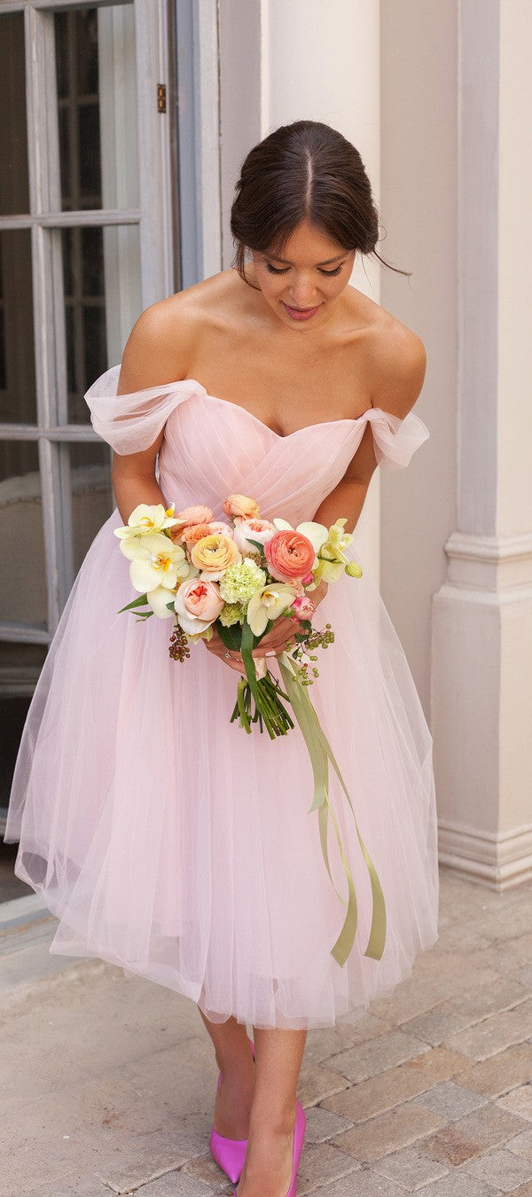Ball Gown Tea Length Off Shoulder Vintage Bridesmaid Dress - daisystyledress