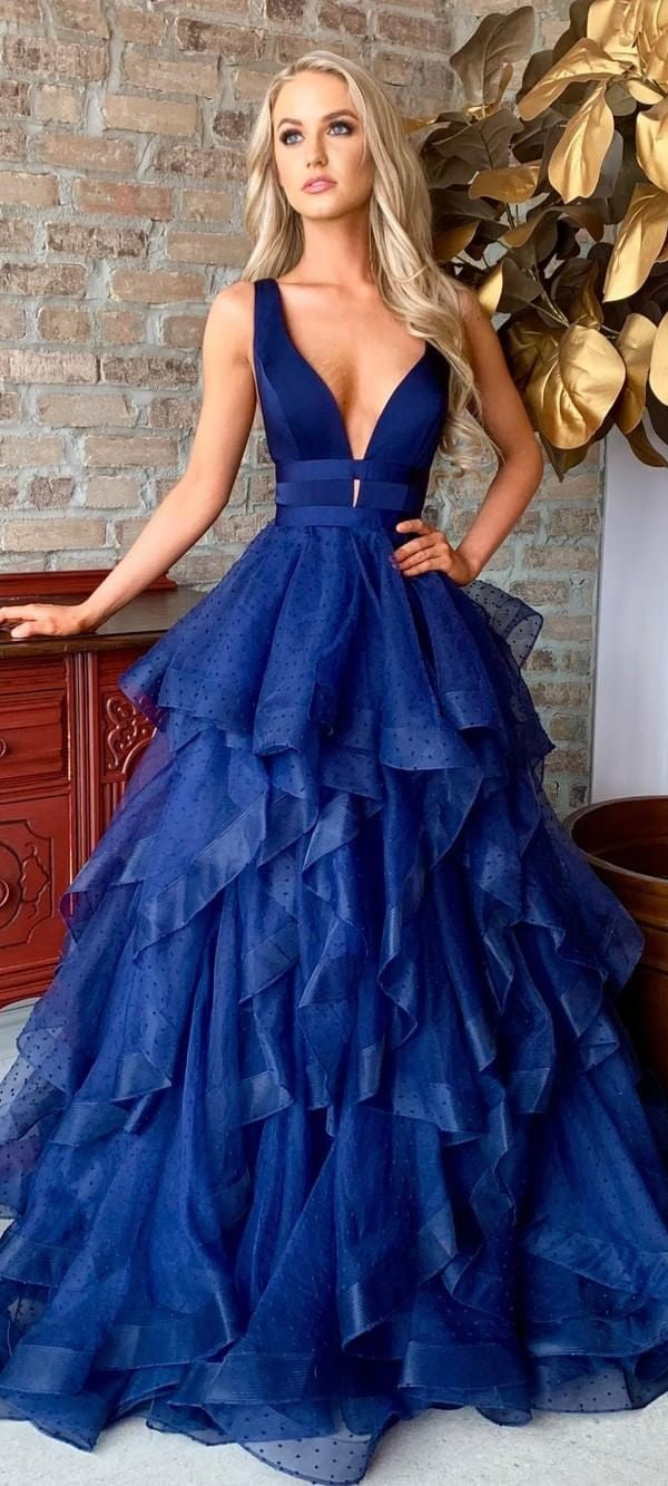 Fashion Ball Gown Navy Blue Prom Dress with Tiered Skirt - daisystyledress
