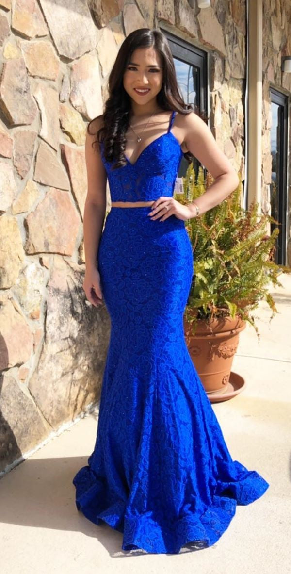 Fashion Fitted Royal Blue High Quality French Lace Two Piece Prom Dress - daisystyledress