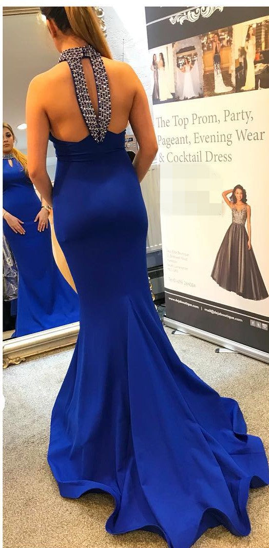 Mermaid Beaded Halter Neck Royal Blue Evening Dress - daisystyledress