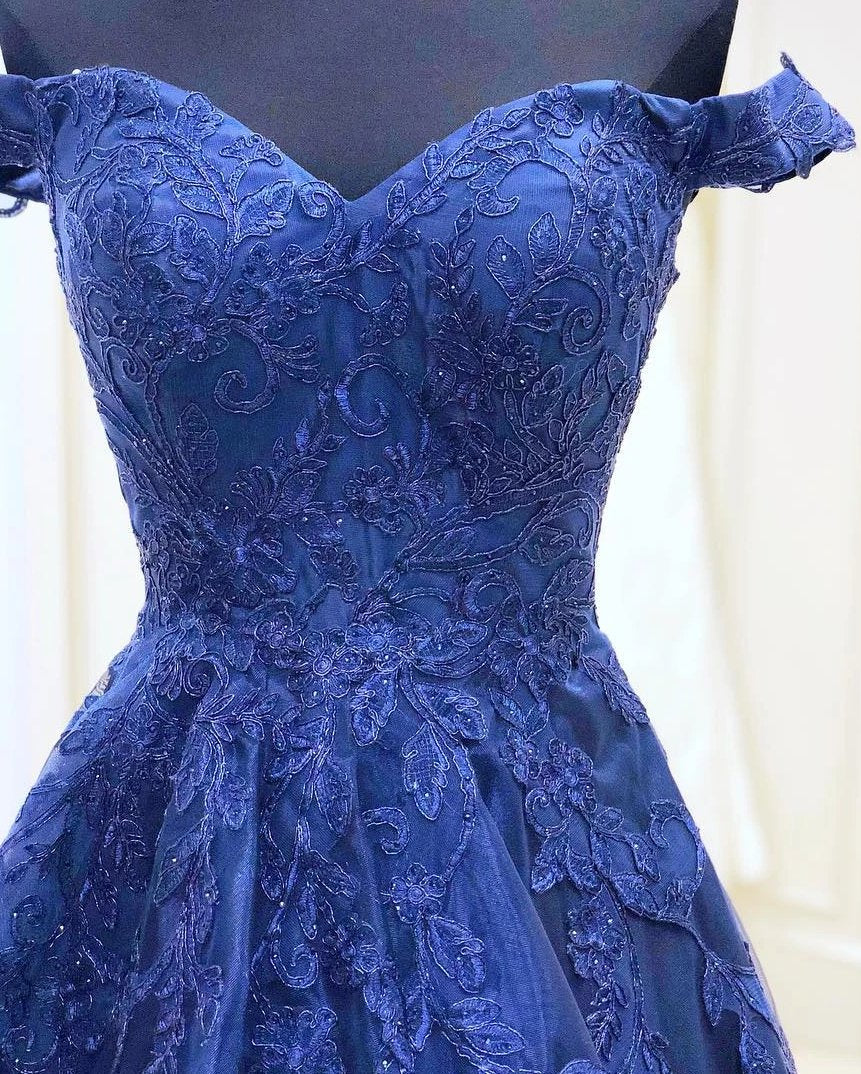 Off Shoulder Sleeves Navy Blue Prom Dress - daisystyledress