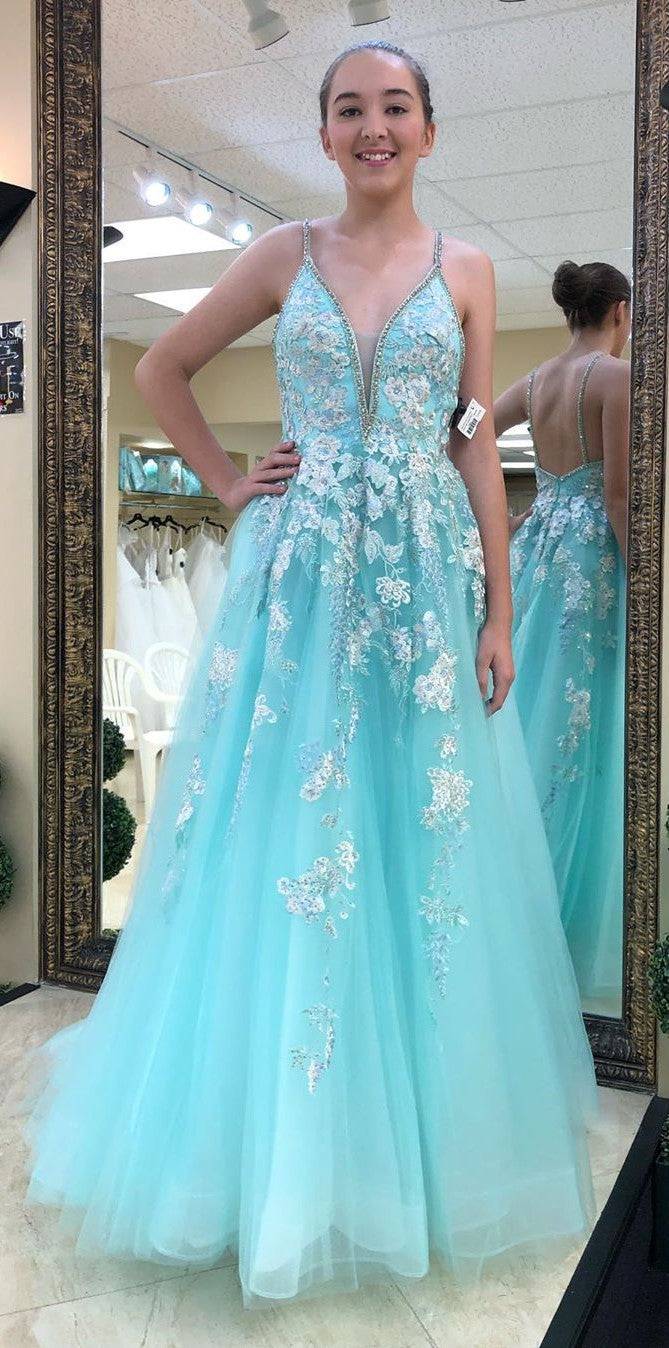 Spaghetti Straps Blue Tulle and Lace Poofy Prom Dress