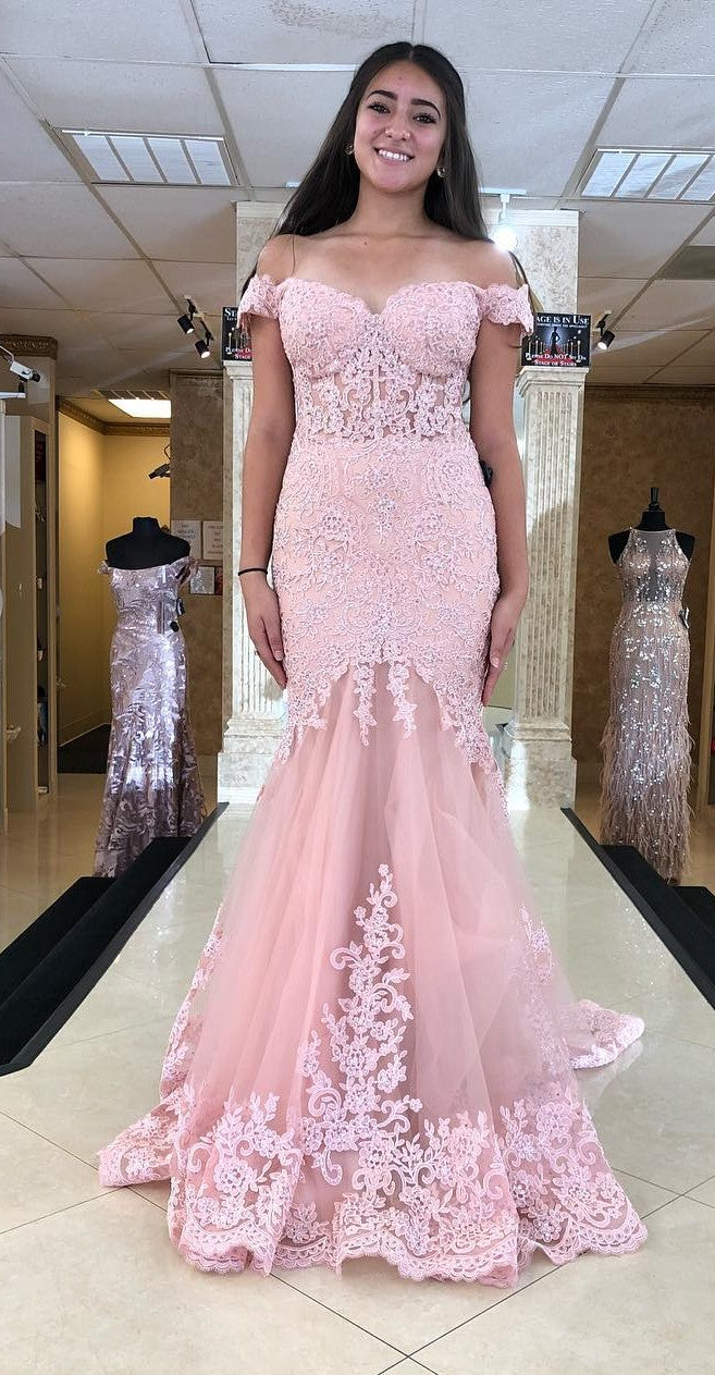 Mermaid Off Shoulder Sleeves Pink Lace Prom Dress - daisystyledress