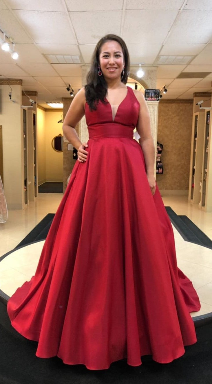 Long V-neck Plus Size Deep Red Prom Dress - daisystyledress