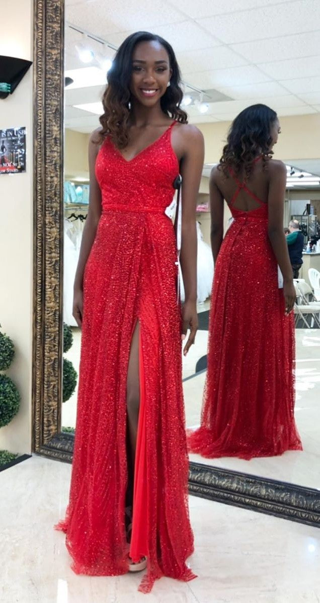 Spaghetti Straps Split Red Sequins Prom Dress - daisystyledress