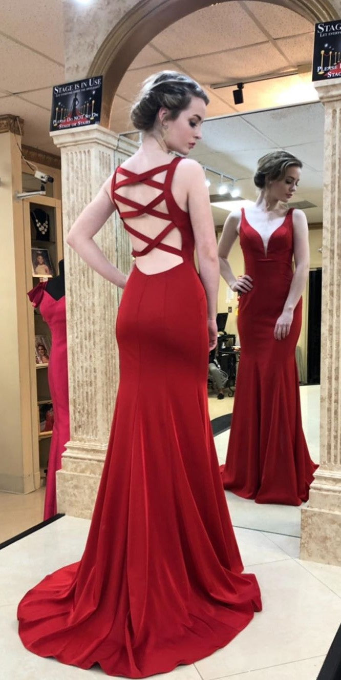 Mermaid Deep Red Formal Party Dress - daisystyledress