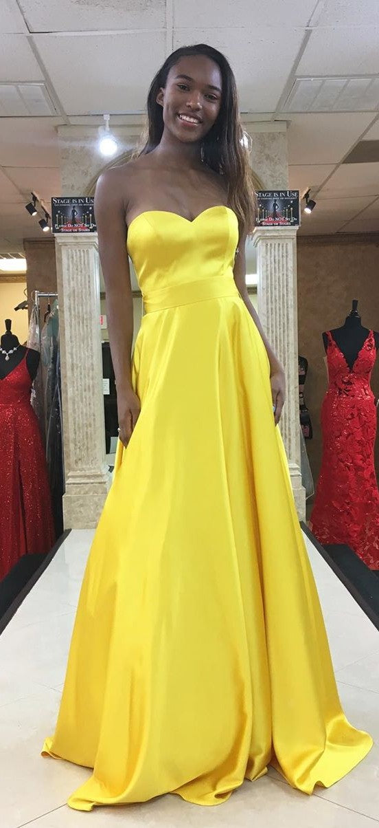Simple Strapless Yellow Prom Dress - daisystyledress