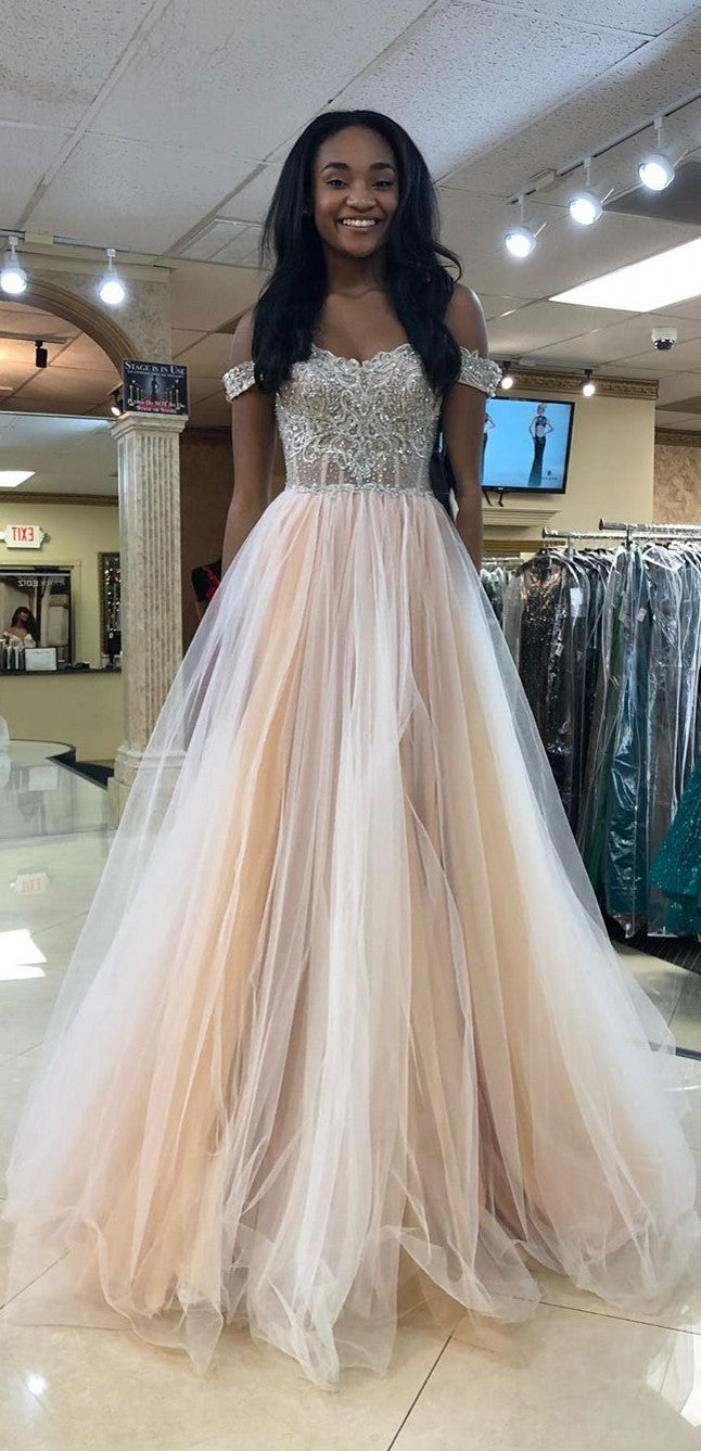Off Shoulder Sleeves Champagne Prom Dress - daisystyledress