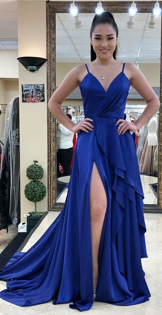 Spaghetti Straps Split Royal Blue Prom Dress