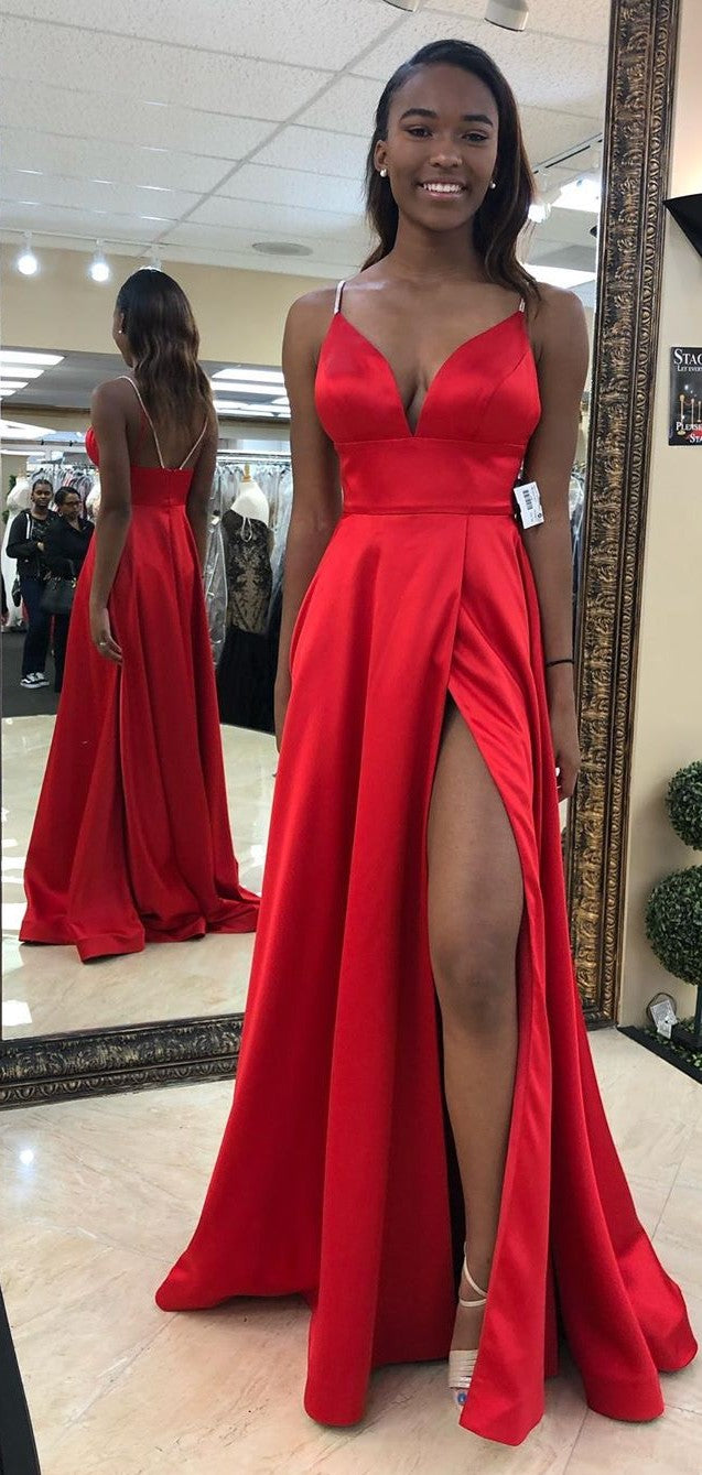 Beaded Straps Split Red Prom Dress - daisystyledress