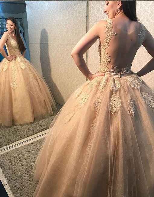 Ball Gown Champagne Tulle and Lace Prom Dress - daisystyledress