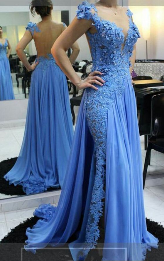 Sexy Sheath Open Back Blue Lace Slit Evening Dress - daisystyledress