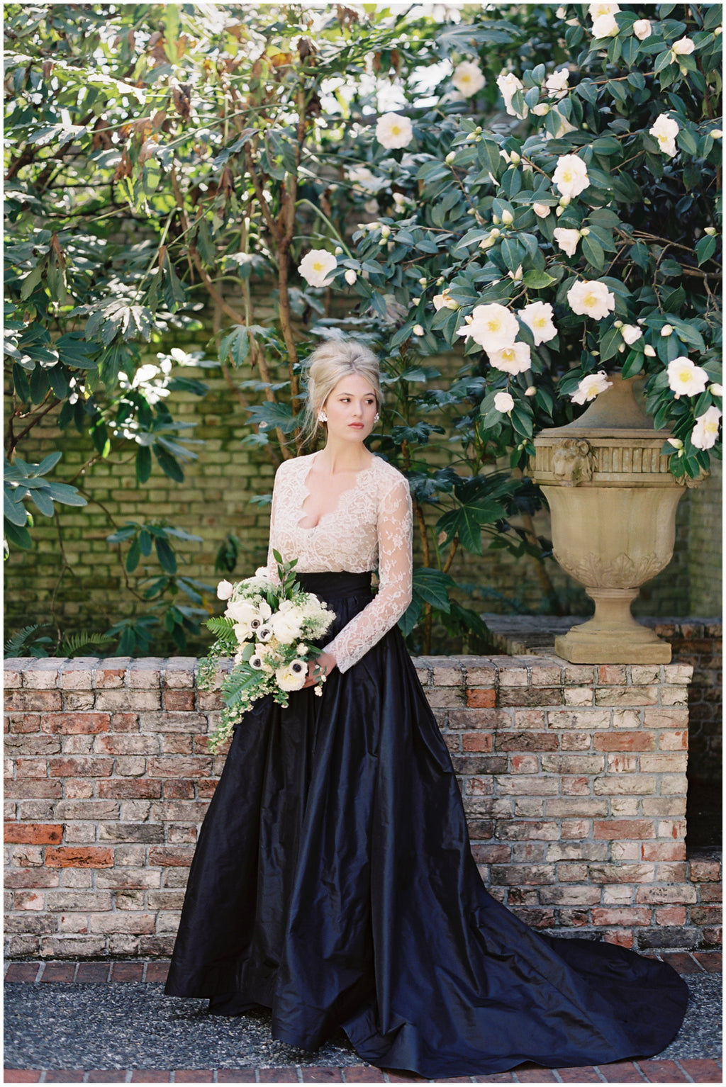 Modest Long Sleeve Lace Dark Navy Wedding Dress - daisystyledress