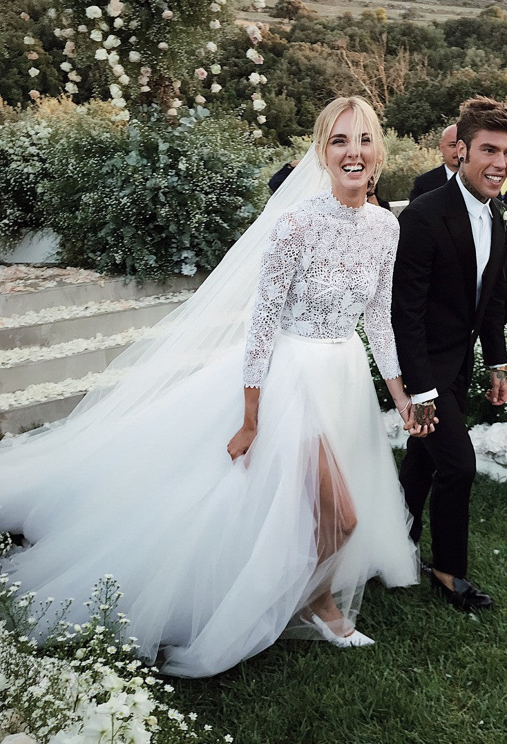 Modest Long Sleeve Lace Slit Wedding Dress - daisystyledress