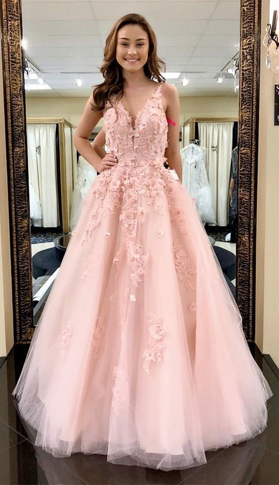 V-neckline Blush Pink Lace and Tulle Prom Dress - daisystyledress